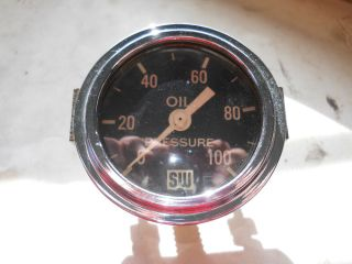 Stewart Warner Oil Pressure Gauge Curved Glass