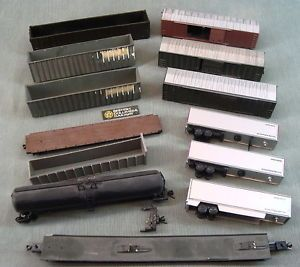 N Scale Custom Train Car Parts Lot Painted Rail Gondola Flat Tanker Box Car
