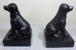 Vintage Art Deco Black Puppy Dogs Hounds Chalkware Bookends Figurines Door Stops