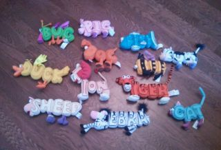 12 Word World Pull Apart Plush Magnetic Letters Toy Animals Duck Lion Pig Fish