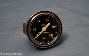 RARE Wings Stewart Warner Curver Glass Oil Pressure Gauge Hot Rod Gasser SW