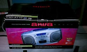 Aiwa CSD A110 Portable Stereo Q Sound Surround 3 EQ Boombox CD Radio Tape Player