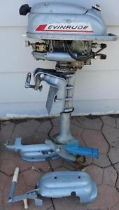 Vtg 1950's Evinrude 3 HP Outboard Boat Motor Parts RARE Fishing Marine Engine