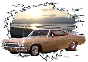 1965 Gold Chevy Impala SS Super Sport Hot Rod Sun Set T Shirt 65 Muscle Car Tee