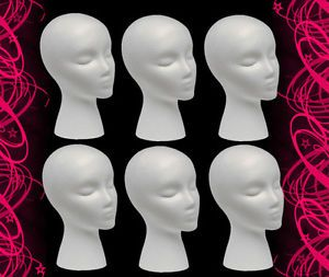 6 Female Mannequin Manikin Styrofoam Head Mount Whole Wigs Hats Retail