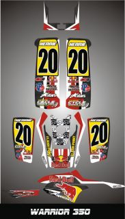 Yamaha Warrior 350 Custom Made Graphics Kit Decal Pegatinas Graficas Red