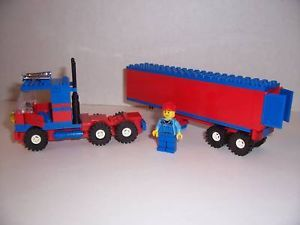 Lego Semi Truck w Trailer Minifig Red Blue