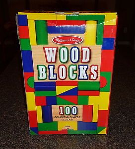 Melissa Doug 100 PC Wooden Building Blocks Colored New