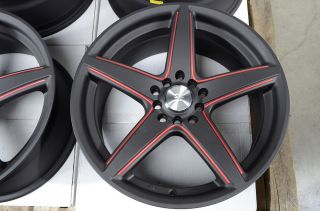 17 5x114 3 5x100 Matte Black Wheels Lexus Cavalier Eclipse I30 I35 J30 Red Rims