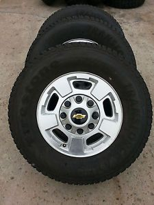 "17"" Chevy GMC Silverado 2500HD Wheels Rims New 265 70 17 Firestone Tires"