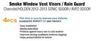 Smoke Window Vent Visors Rain Guards for 2012 Chevrolet Sonic Aveo 5 Door