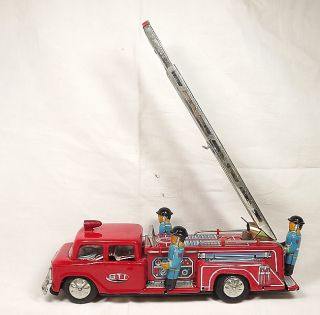 RARE Fire Truck Friction Toy with Siren Tin Toy MF 718