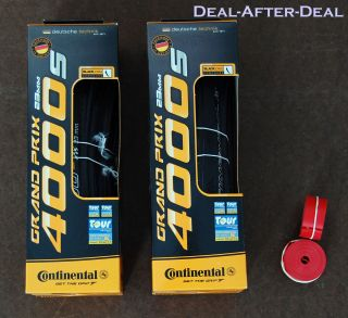 Set Continental Grand Prix 4000 s 4000s Tires 700 C Black Rim Strips Road Bike