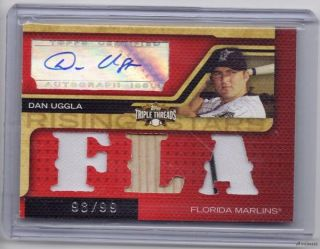 Dan Uggla 2008 Topps Triple Threads 'D 98 99 Jersey Bat Auto Florida Marlins