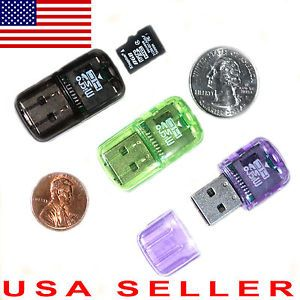 1x USB Micro SD Adapter SDHC TF Memory Card Reader Mini Real Cool Very Small