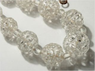 "18"" Vintage Czech Hollow Lace Spun Crystal Glass Beads Necklace"