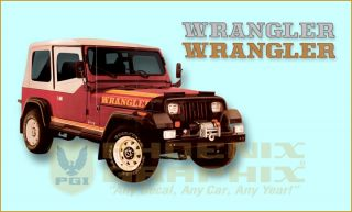 1987 1988 Jeep Wrangler YJ Decals Stripes Kit
