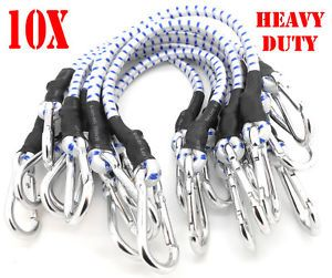 "10pc 18"" Heavy Duty Bungee Cords 18 inch Long Bungee Thick Tie Downs w Hooks"