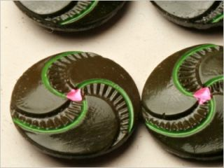 Antique Czech Art Deco Paint Spiral Glass Buttons Card