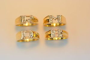 Ladies 10K Yellow Gold Diamond Initial Ring Letter A B C D R s T M O P Sz 6