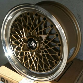 15 Rota OS Mesh Gold Rims Wheels Tires Civic Integra Jetta Fit Miata Falken 912