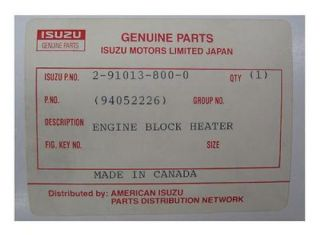 Isuzu Engine Block Heater Any Make 1988 1991 2 6L