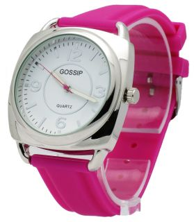 Gossip GSP889C Womens Analog Silver Tone Stainless Steel Fuchsia Silicone Watch