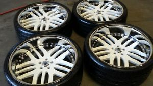 Asanti White Wheels Rims and Tires 22 inch Staggered Three Piece Pirelli P Zero