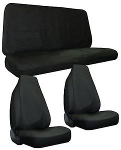 Black Faux Leather High Back Bucket Car Truck SUV Seat Covers 4 Piece Pkg Z