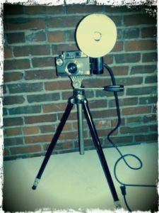 Repurposed Argus Autronic 35mm Camera Lamp Tripod Industrial Steampunk Light