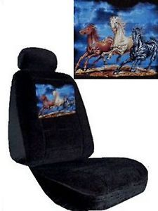 Black Seat Covers Car Truck SUV Horses Mustang Trio Low Back PP 4