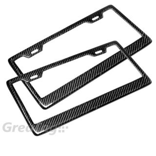 2 Pcs Universal US Sized Real Carbon Fiber License Plate Frames Holder Cover