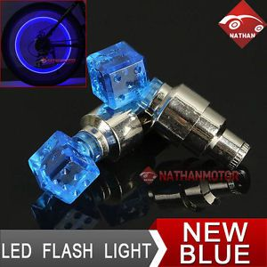 2X Blue LED Tyre Tire Wheel Valve Cap Cover Flash Light Bicycle Motorcycle Car