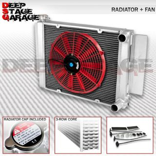 "Tri Core 3 Row Cooling Radiator 14"" Fan Red 79 83 Mazda RX 7 RX7 SA FB S2 S3"