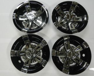"Golf Cart Hub Caps Wheel Cover 8"" Vegas Black Chrome Club Car EZ Go Yamaha"