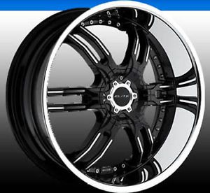 "Dub Carnal 22"" Wheel Set Black Center Wheel Set Challenger Camaro Tahoe Dodge"