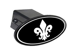 "Fleur de Lis White on Black 2"" Tow Trailer Hitch Cover Plug Insert"
