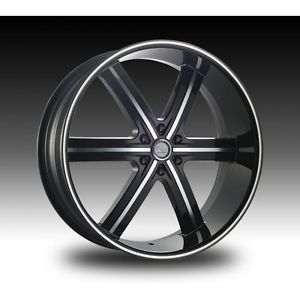 24 inch U2 55 Black Wheels Rims Tires Fit Chevy Nissan Cadillac RAM 300 Old Cars