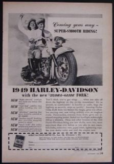 1949 Harley Davidson Hydra Glide Super Smooth Riding Vintage Motorcycle Ad