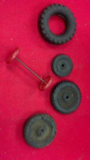 4 Used Vintage or Antique Toy Truck Car Wheels Tires 1 Axle with Plastic Rims