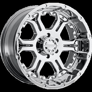 17x9 Gear Alloy Recoil 715C 5 6 8 Lug Chrome Wheels Rims Free Caps Lugs Stems