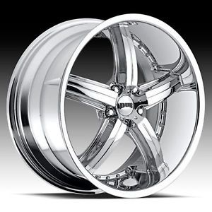 "20"" Dub Bomber Chrome Wheel Set 5 Spoke"