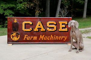 "Vintage Case Steam Traction Engine Farm Machinery Sign 30""x72"" Nice Condition"