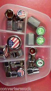 American Flag Logo Tire Valve Stem Caps 4 Sets License Plate Screw Covers