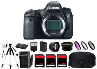 Canon EOS 6d DSLR Digital Camera Body Only 2 Lens 80GB Flash Bundle Kit