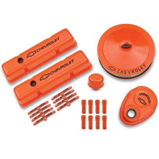 GM 141 780 SB Chevy Engine Dress Up Kit Orange Valve Covers Air Cleaner