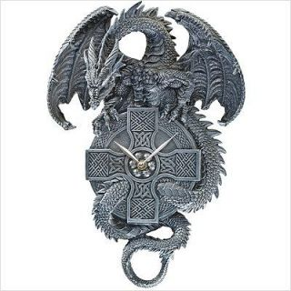 Medieval Winged Dragon The Guardian of Time Gothic Clock Home Wall Art Products