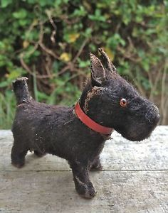 Vintage Antique German Putz Miniature Scottish Terrier Scotty Dog Teddy Bear 1