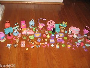 Littlest Pet Shop Big Lot of Accessories and 25 Pets Dogs Cats Birds Food