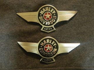 Harley Davidson Collectible Softail Fatboy Polished Chrome Fuel Tank Emblem Set